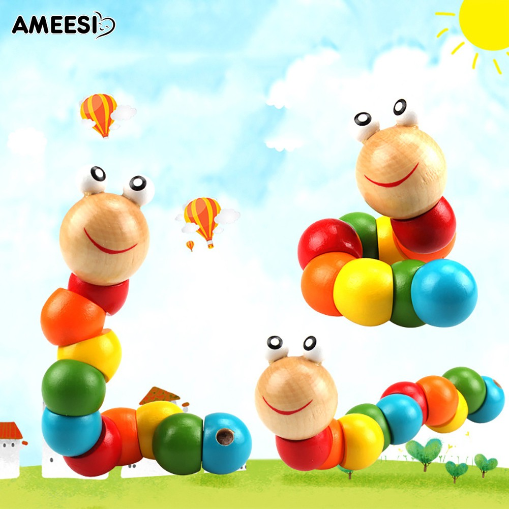 🔅🔆AMEESI  Wooden Worm Puzzle Kids Early Educational Toy Finger Game