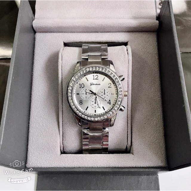 Đồng hồ nữ dây kim loại đính đá Geneva