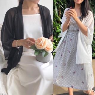 [Mã SKAMCLU7 giảm 10% tối đa 50K đơn 0Đ] Áo khoác Kimono voan màu Đen trơn Trắng Trơn Betterista thumbnail
