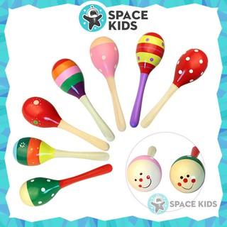 Đồ chơi Lục lạc, Xúc xắc gỗ đầu tròn nhiều màu sắc cho bé Space Kids