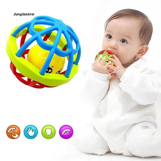 [AC} Baby Teether Rattle Toy Intelligence Grasping Gums Hand Bell Funny Hollow Gift