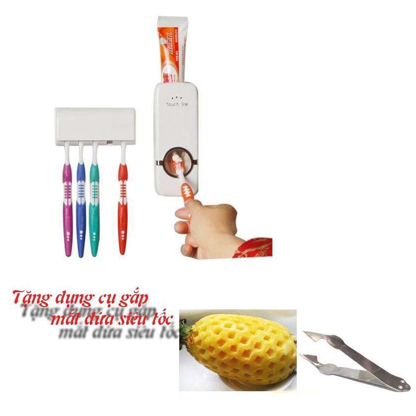 Hot - Máy lấy kem đánh răng tự động thông minh tặng dụng cụ gắp mắt dứa