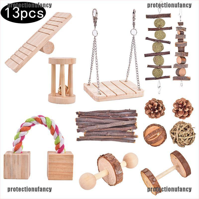 Protectionufancy 13 Pack Hamster Chew Toys, Natural Wooden Pine Guinea Pigs Rats Chinchillas Toys ABC