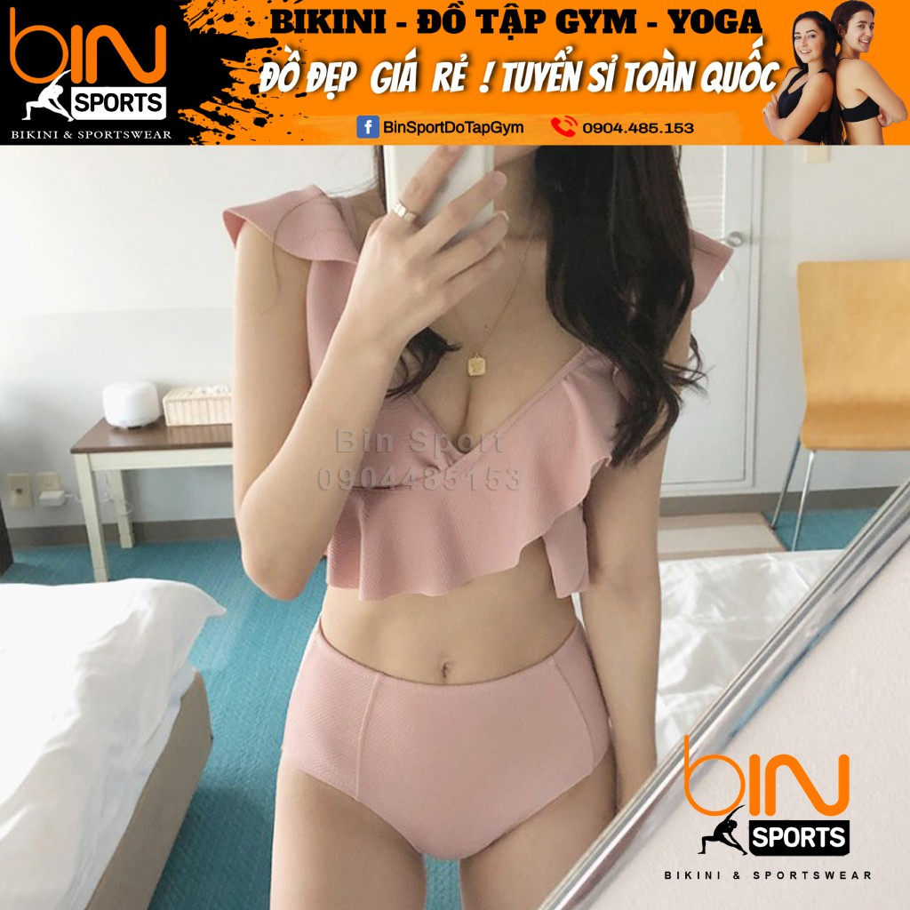 Bikini,Bộ Đồ Bơi Hai Mảnh Bèo Hồng, Hàng Nhập Đủ Size M L XL,BHN013