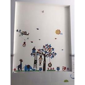 Decal dán tường thú xanh