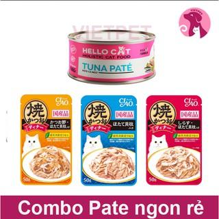 [Mã PETMS03 giảm 10% đơn 199K] [SALE TẾT] Combo Pate cho mèo Hello Cat (190g) & 3 gói Pate Ciao (150g) thumbnail