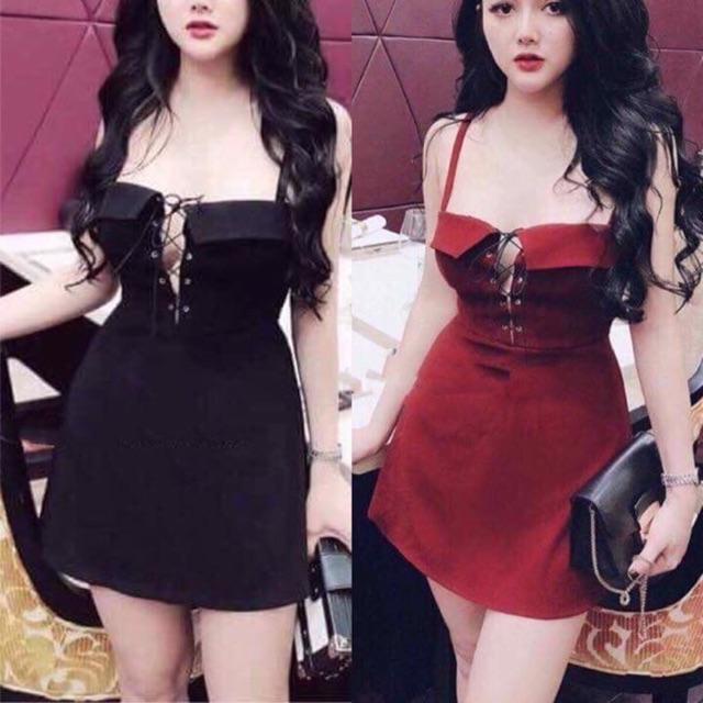 Váy 2 dây cúp ngực đan dây