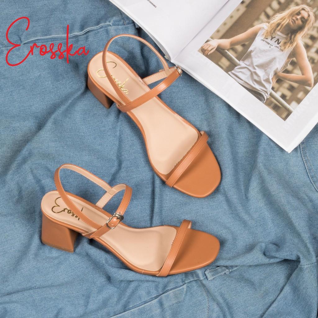 Hình ảnh Giày Sandal Nữ Thời Trang Erosska 5cm Mũi Vuông - EM019 - Màu Nude-7