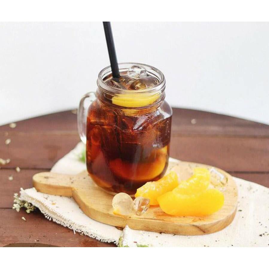 Cốc ly thuỷ tinh có quai dạng lọ vuông, có nắp nhôm 500ml đựng trà sửa, sinh tố, nước ép hoa quả...
