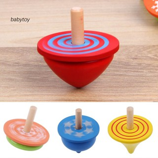 [Baby]4Pcs Colorful Wooden Desktop Spinning Top Peg-Top Gyro Toy Children Kids Gift