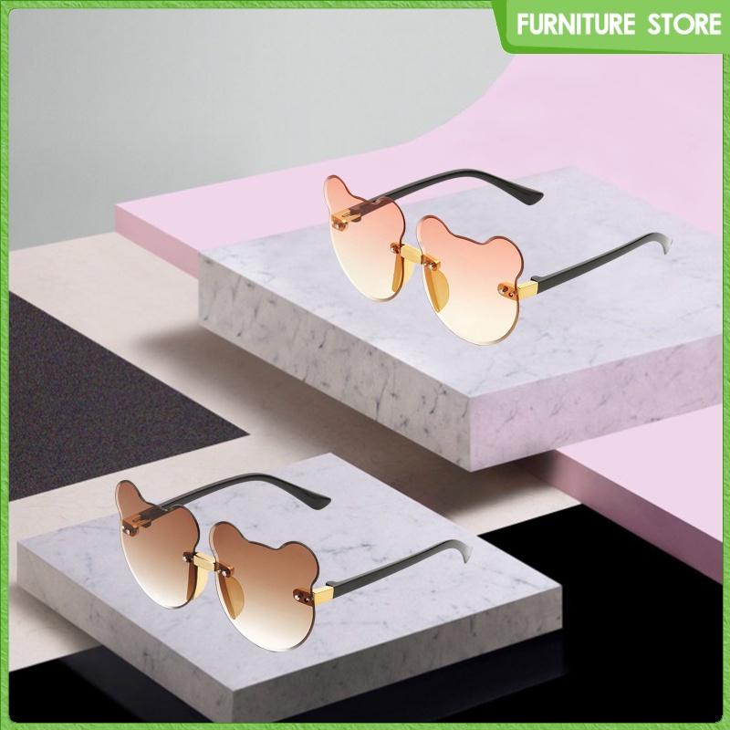 2pcs Cat Ear Sunglasses Rimless Kid\'s UV400 Resin Lens Glasses Party Eyewear