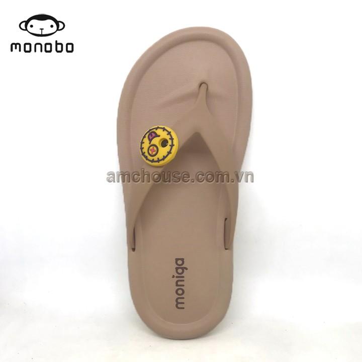 Dép Thái Lan nữ xỏ ngón đính mặt cười siêu nhẹ MONOBO - MONIGA 27S - BEIGE