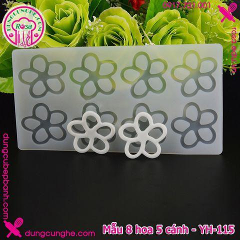 Khuôn silicon decor bánh kem - mẫu 8 hoa 5 cánh - YH-115