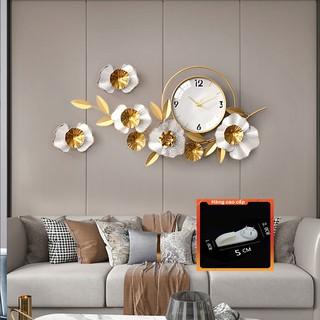 [QUÀ TẶNG LÀ 1 Đinh 4 Chân NHA BẠN dùng cho] Đồng Hồ Treo Tường Trang Trí Decor DK112 quartz hoa mai vàng cỡ lớn 3d