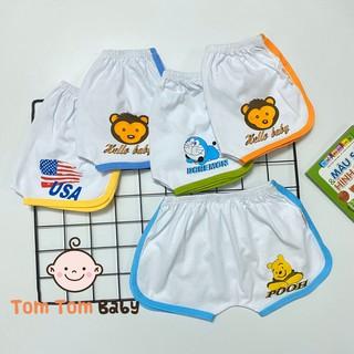 [Mã NOWSHIPT6HAPPY giảm 20k đơn 50k] COMBO GIÁ SỈ- Combo 10 quần đùi cotton trắng viền màu SUSU cho bé trai, bé gái