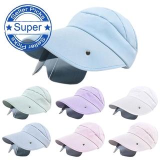 New Women Retractable Drawstring Visor Summer Sun Empty Hats Caps Riding Anti-Uv Sports Fishing R8M0