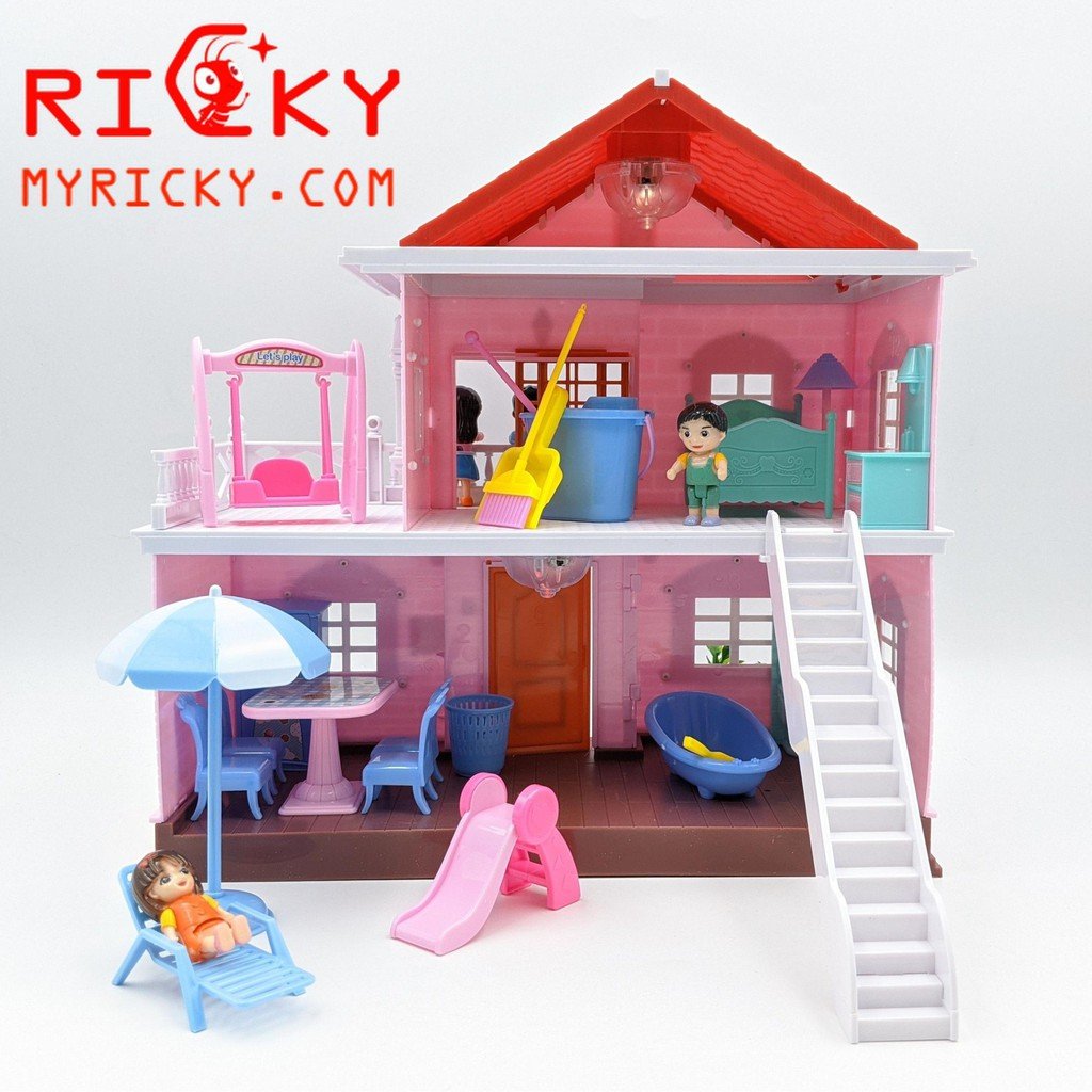 Bộ đồ chơi ngôi nhà búp bê cho bé gái - 3 phòng - Thiết kế hiện đại cực đẹp  - Ngôi nhà búp bê Hãng No brand