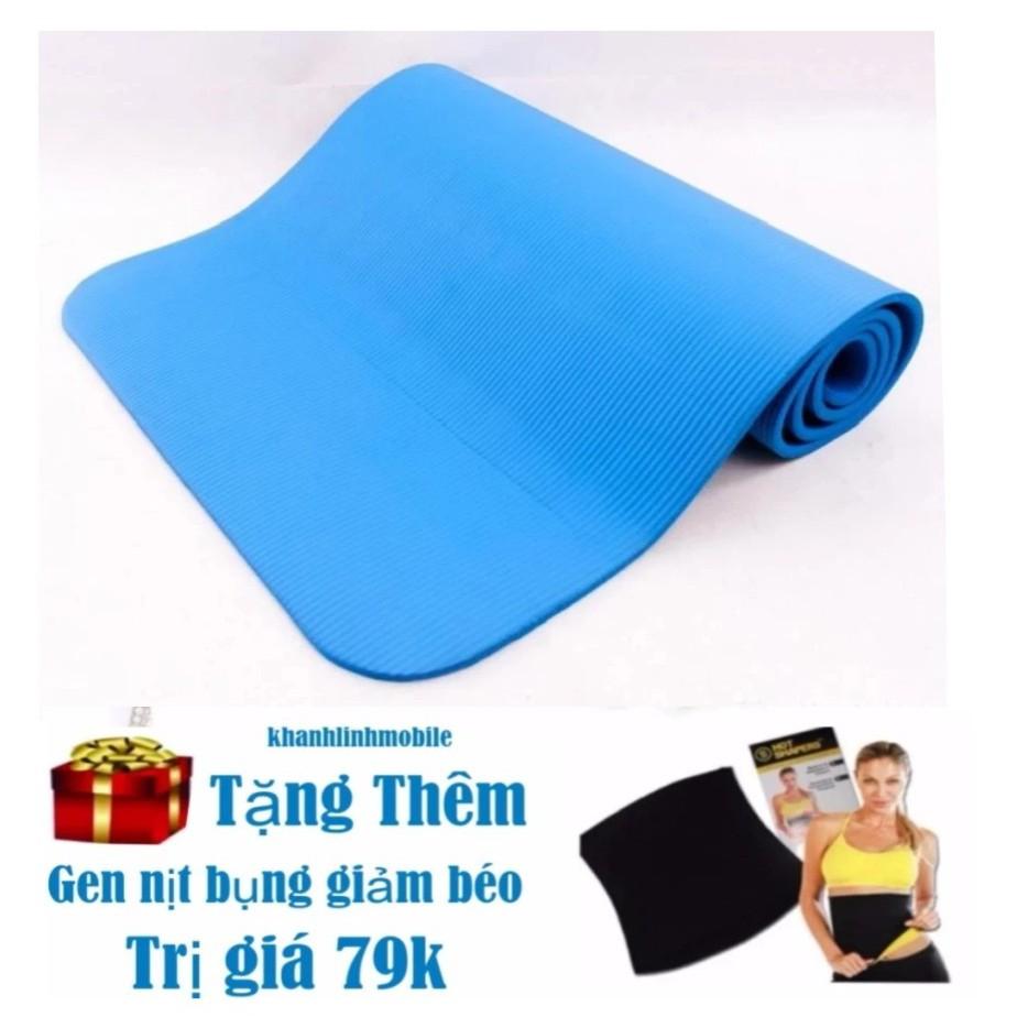 Thảm tập Yoga siêu bền loại dày 10mm TPE + gen nịt bụng ( xanh + tím ) Hàng nhập khẩu