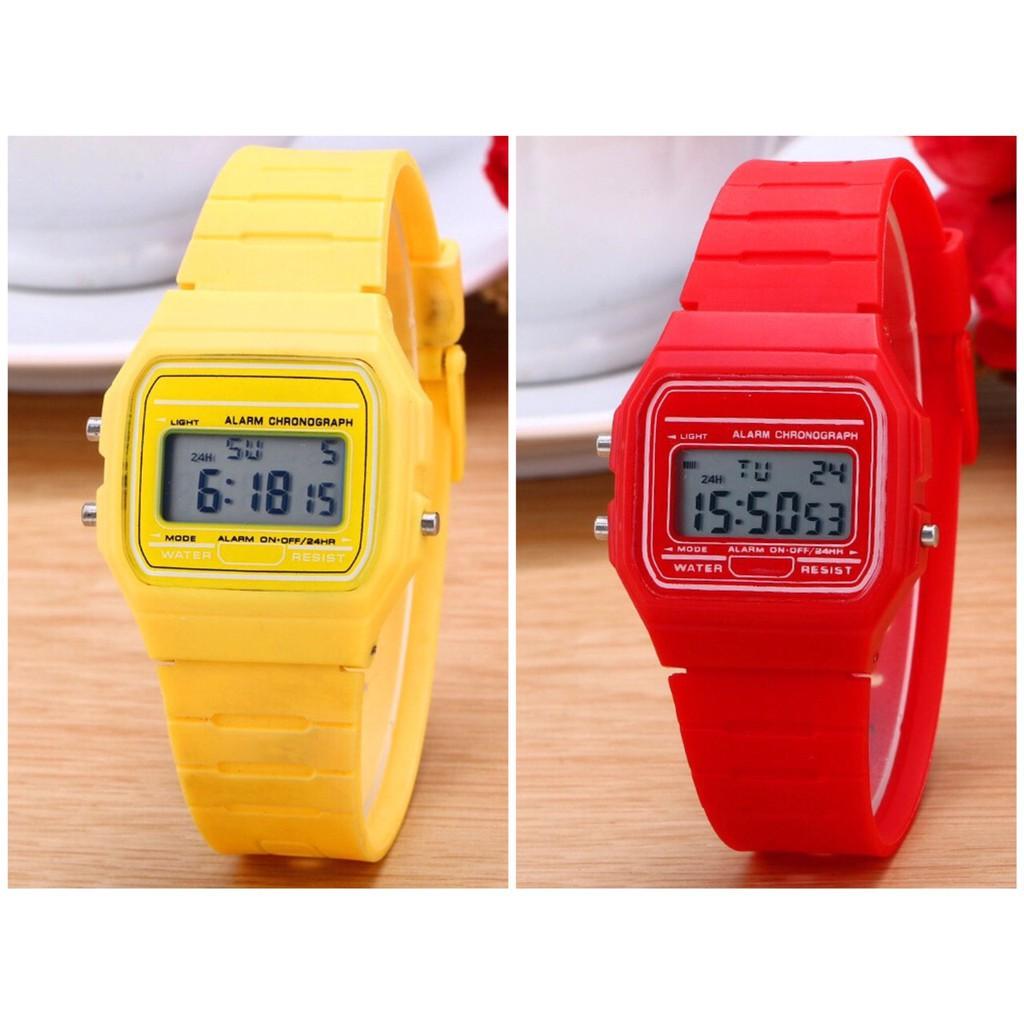 Đồng hồ điện tử nam nữ Casi WR full chức năng & có báo thức QA233 - mặt đồng hồ theo màu dây