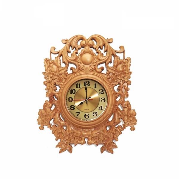 Đồng hồ treo tường hoa gỗ vàng - Cao cấp