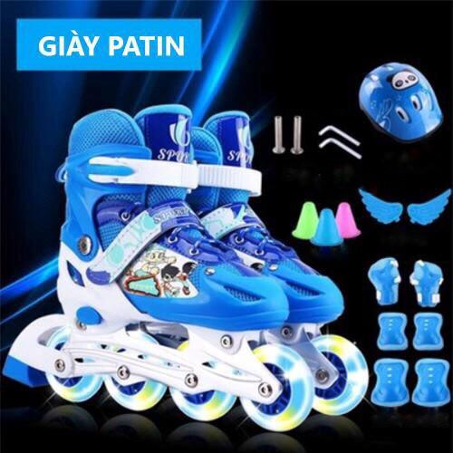 PTF – Giày Patin có đèn 2 bánh trước, kèm full phụ kiện đầy đủ (bảo hộ tay chân, nón bảo hiểm)