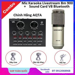 Combo Soundcard V8 AQTA Chính Hãng Bluetooth + Mic Karaoke Livetream BM 900, Có AutoTune Chuẩn Phòng Thu thumbnail