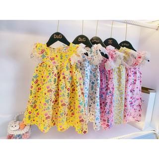 Váy hoa cho bé họa tiết hoa nhí cánh tiên phối ren cho bé gái