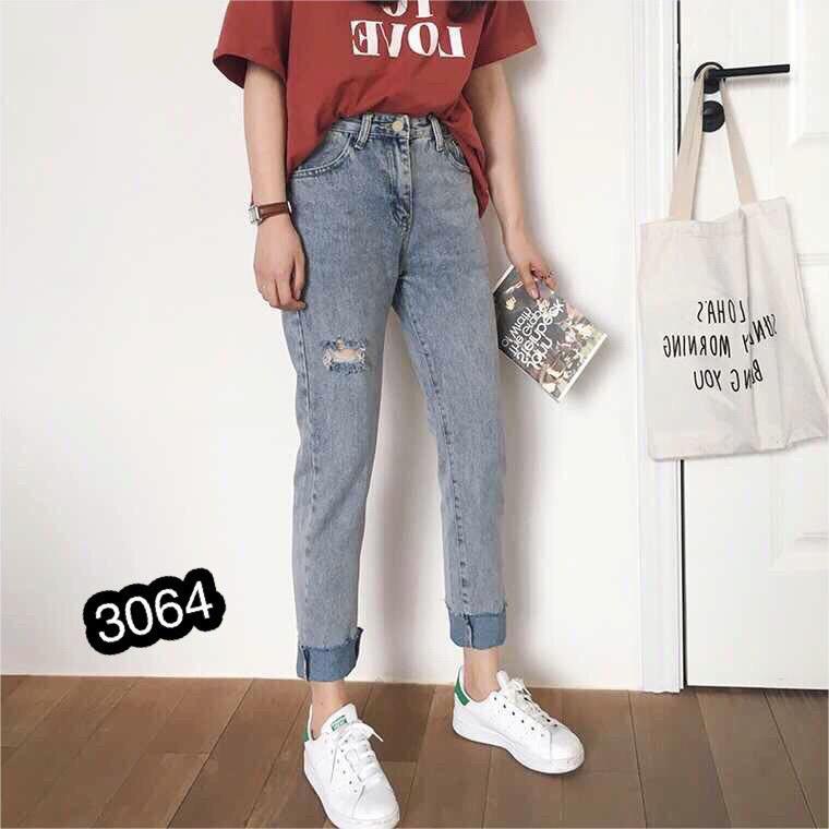 Quần Jeans Nữ Phối Rách Cao Cấp OHS3064