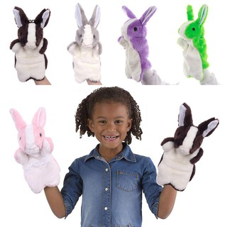 【HKM1】Cute Cartoon Rabbit Hand Puppet Doll Funny Interactive Plush Toys Kids Gift