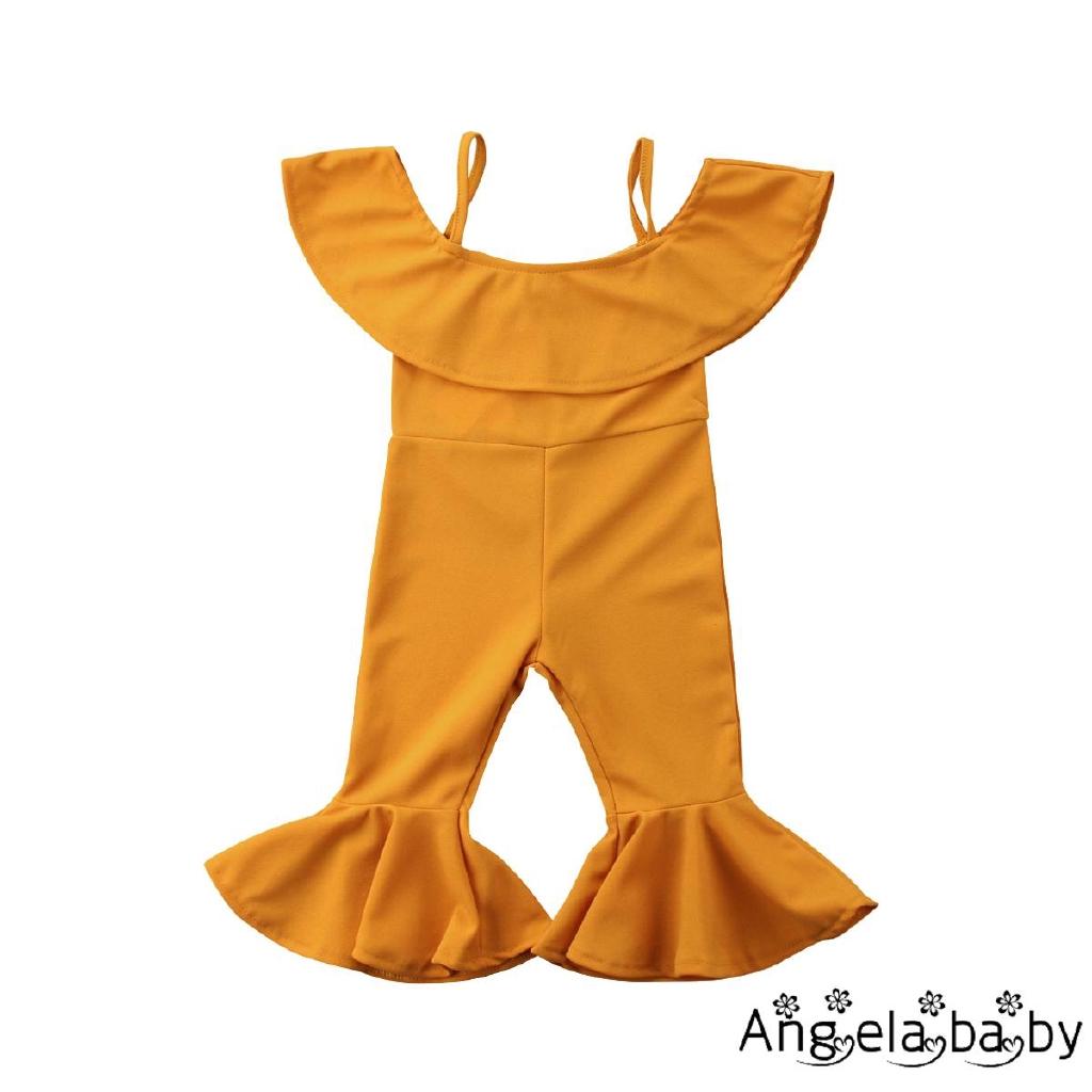 Áo trễ vai liền quần dài ống loe màu trơn dễ thương cho bé gái