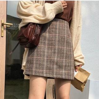 Chân váy lưng cao hoạ tiết caro thời trang cho nữ