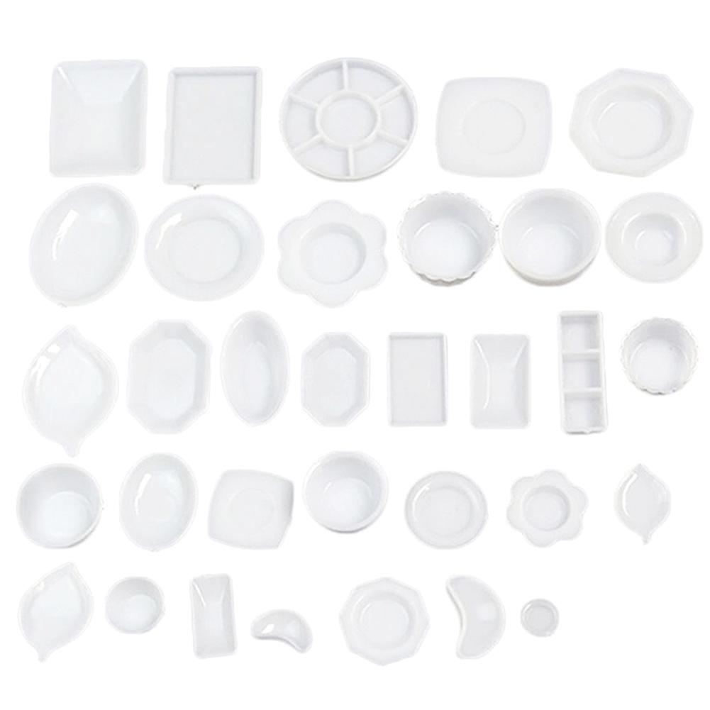 New 33Pcs Miniature Tableware Plastic Plate Dishes Set Mini Food the goods for kitchen