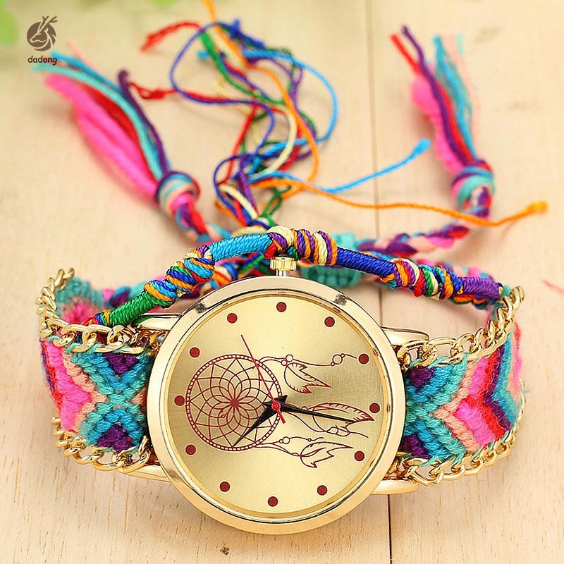 Vintage Women Ethnic Handmade Braided Quartz Watch Knitted Dreamcatcher Wristwatch Gifts