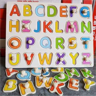 [XẢ KHO] Đồ chơi gỗ cho bé bảng chữ cái in hoa có núm cầm – Đồ chơi thông minh