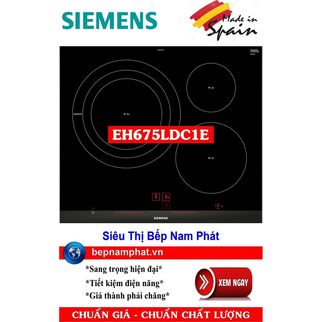 Bếp từ 3 vùng nấu Siemens EH675LCD1E 5 mức công suất chiên, xào, rán nhập khẩu Tây Ban Nha