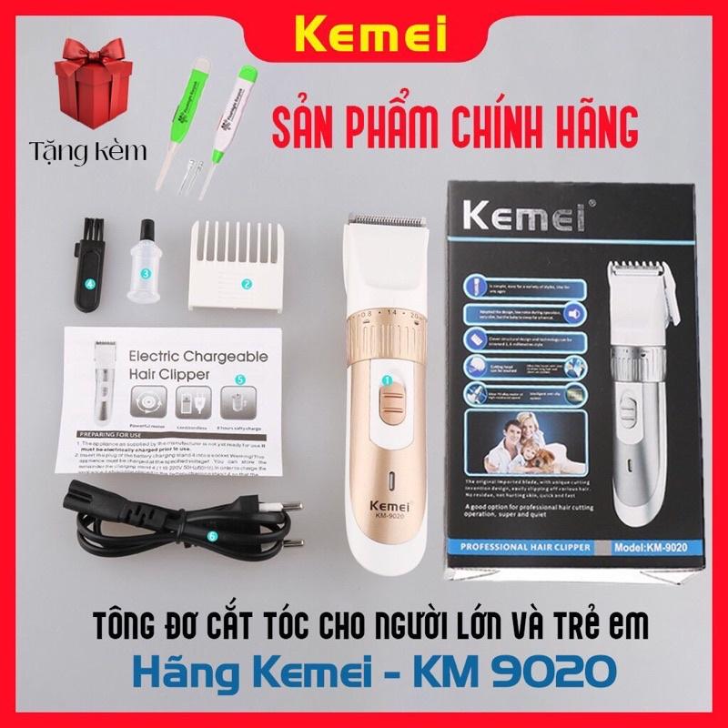 Tông đơ cắt tóc gia đình Kemei 9020 chính hãng , tăng đơ người lớn - trẻ em , máy hớt tóc chấn viền cho bé sạc pin