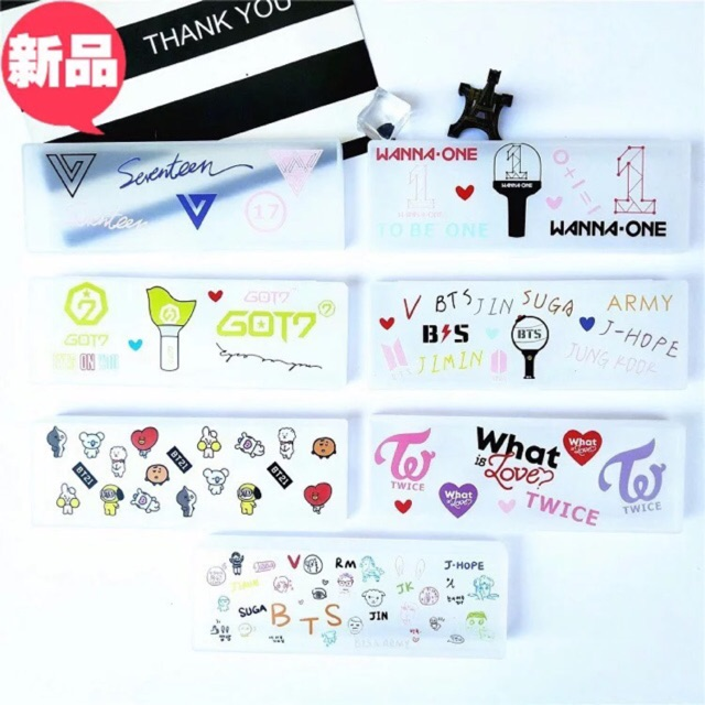 Hộp đựng bút bằng nhựa trong BTS/BT21/Seventeen/W1/Got7/Twice