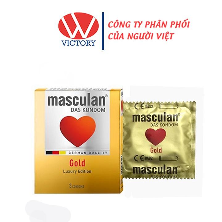 Hộp 3 cái Bao Cao Su Masculan Gold Luxury Edition - Ánh vàng sang trọng - Victory Pharamcy
