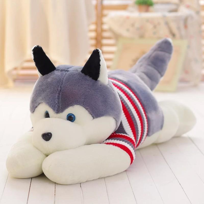 Gấu Bông Gối Ôm Chó Husky Bông Cute Khổ vải 1m3 – Quà Tặng Quà Sinh Nhật Độc Đáo Ý Nghĩa