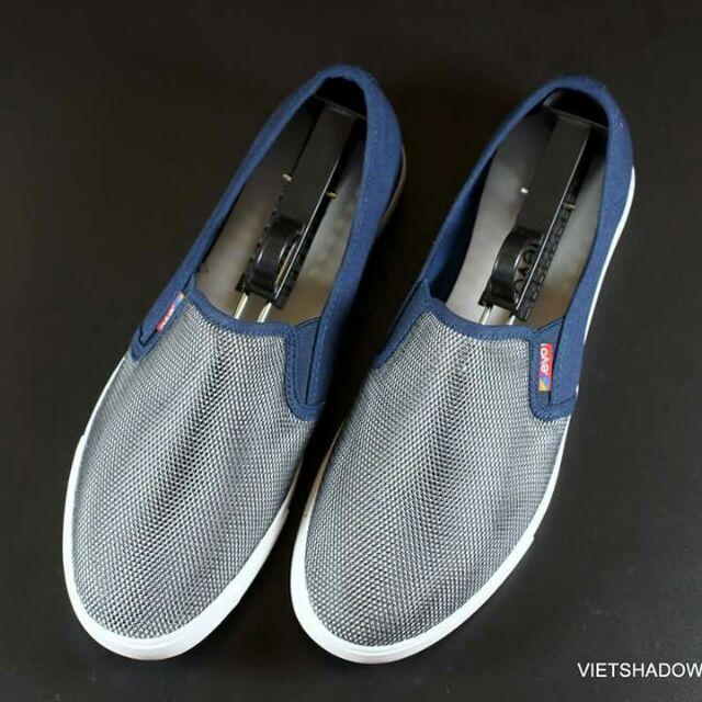 Slip on | Giày lười vải lưới Leyo - Mã 6111-xanh