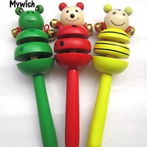 🏆Wooden Animal Smiling Face Rattle Handbell New Toy for Baby Infant Toddler