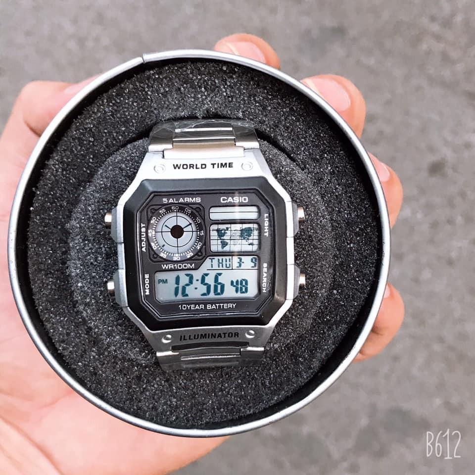 Đồng hồ nam Casio AE 1200-WHD classic chống nước , dây thép không gỉ (dây bạc mặt đen)