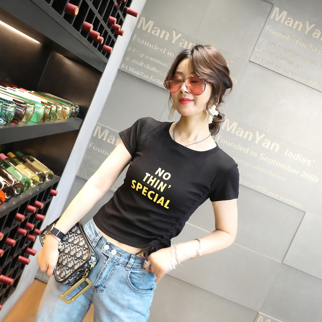 ¤✟▬Short sleeve T-shirt female new summer 2019 han edition dress printed letters with drawstring bare midriffs half bl