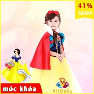 🔥BAO ĐỔI TRẢ- BẢO HÀNH CHẤT LƯỢNG 💝Váy đầm công chúa Bạch Tuyết trang phục hóa trang vải nhung cho bé gái E155