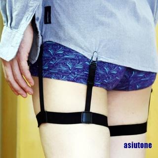 (asiutone) Adjustable Shirt Holder Stay Elastic Men Suspenders Leg Braces Uniform Suspender