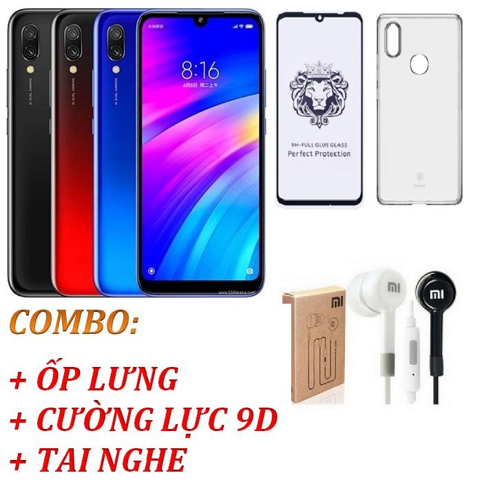 Điện thoại Xiaomi Redmi 7 Ram 3GB 32GB + Ốp lưng + Cường lực 9D + Tai nghe - Hàng nhập khẩu