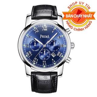 Đồng hồ nam PREMA dây da Cao Cấp, Lịch Lãm, Chống Nước, Chống Xước + Tặng kèm pin và vòng tay may mắn