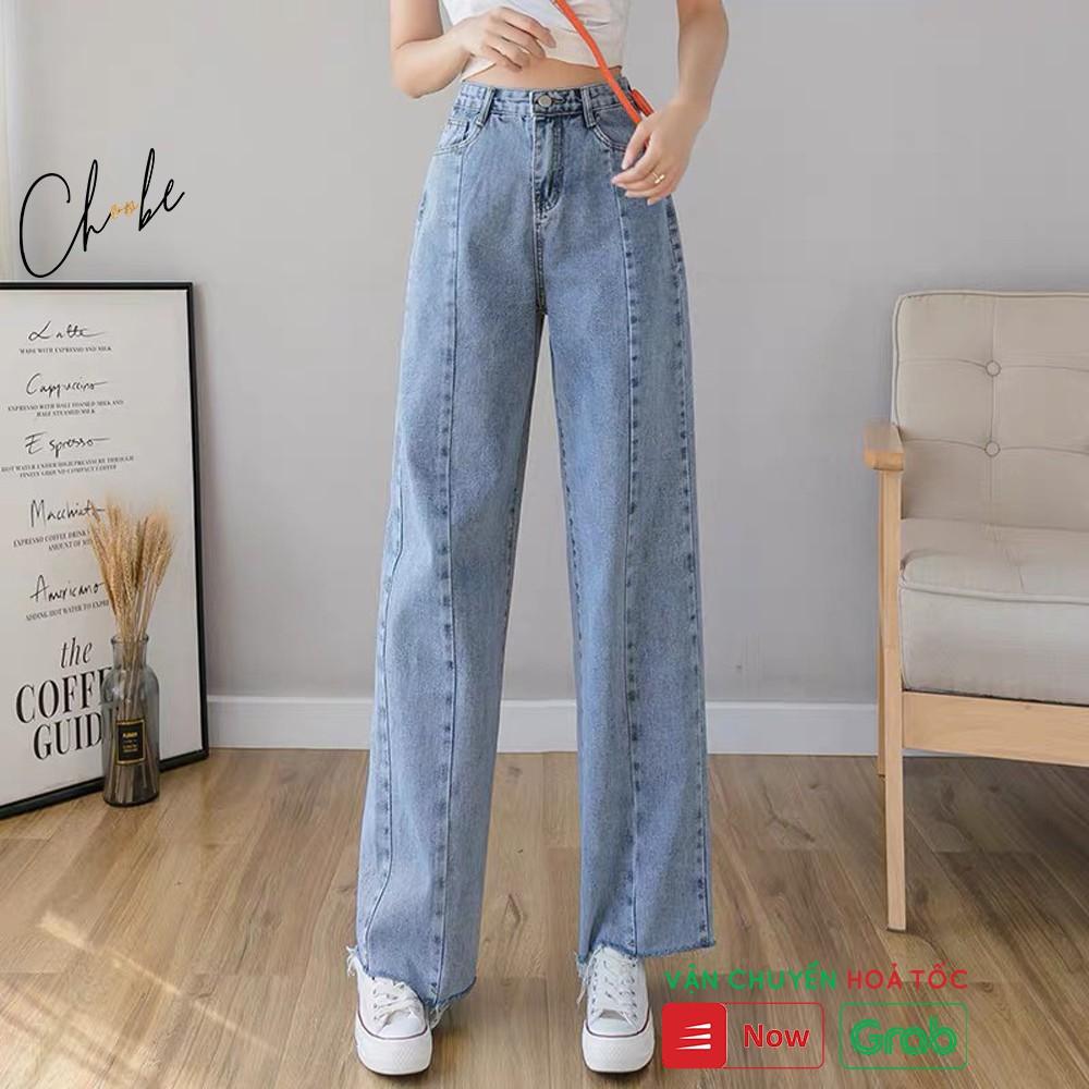 Quần jean nữ Choobe ống rộng, lưng cao, bò suông phong cách thời trang Hàn Quốc - QJ01
