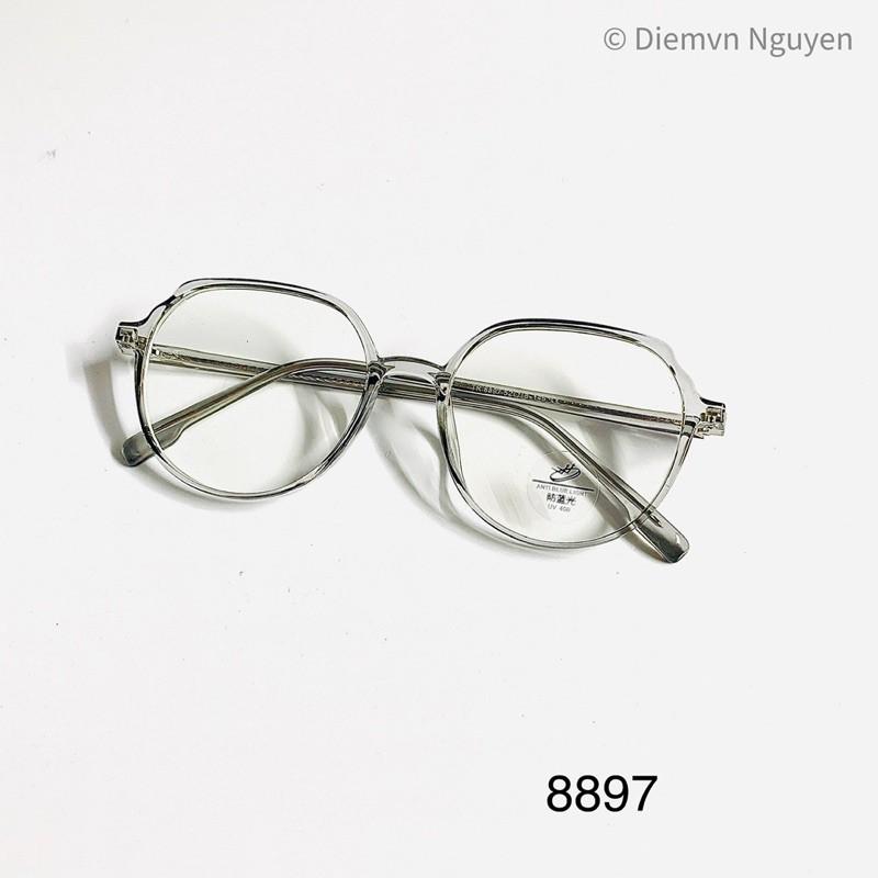 8897 Gọng kính cận lục giác Vạt đầu màu siêu xinh cho cả nam và nữ, cốt kim loại siêu...