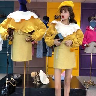 Dress with wool legs skirt and waist